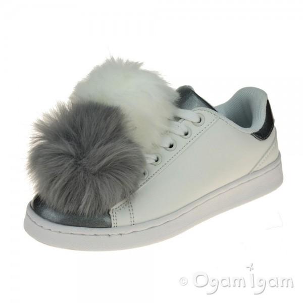Lelli Kelly Pon Pon Bianco Girls White-Grey Shoe