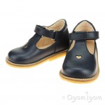 Angulus T bar with Heart Girls Navy Shoe