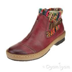 Rieker Z678435 Womens Wine Ankle Boot