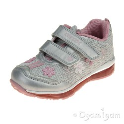Geox Todo Girls White-Silver Trainer