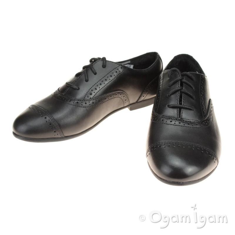 Clarks Selseycool Jnr Girls Black School Shoe Ogam Igam