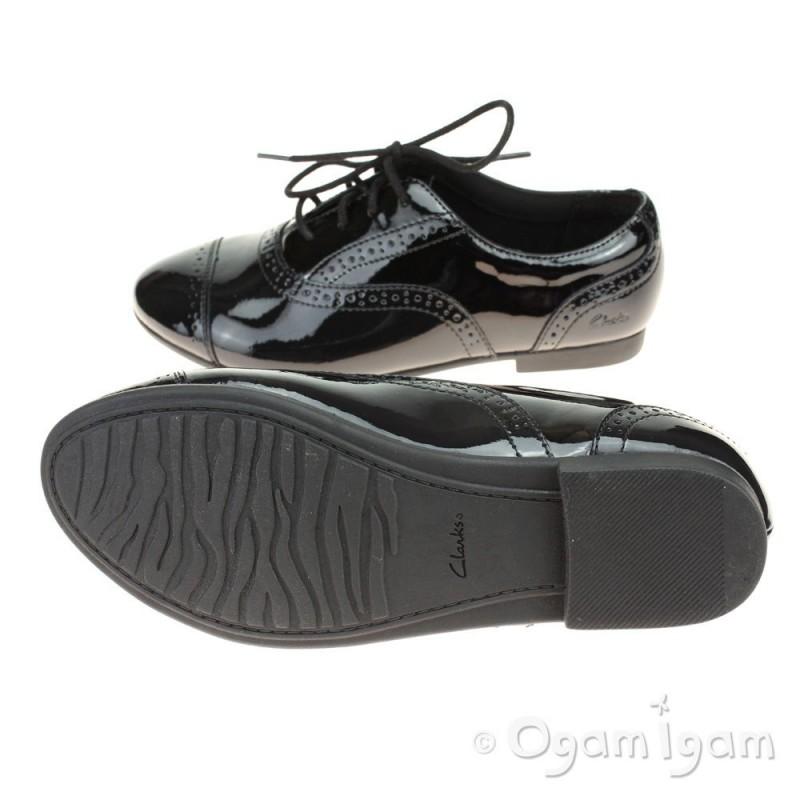 clarks selseycool jnr black patent school shoe