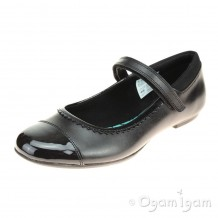Clarks Tizz Ace BL Girls Black with Patent School Shoe
