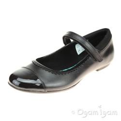 Clarks Tizz Ace BL Girls Black with Patent School Shoe
