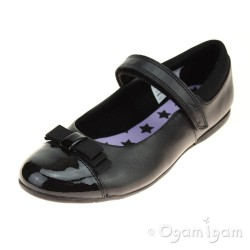 Clarks DanceShout Jnr Girls Black with Patent School Shoe