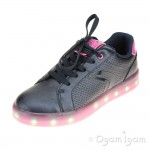 Geox Kommodor Girls Navy-Fuchsia Rechargeable Lights Shoe