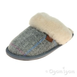 Bedroom Athletics Kate Womens Grey-Pink Check Tweed Slipper