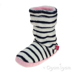 Joules Padabout Girls French Navy Stripe Slipper Sock