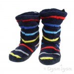 Joules Padabout Boys Mutli Stripe Slipper Sock