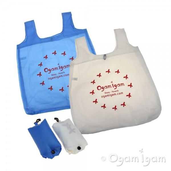 Fold-up shopping bag in Blue or White with Ogam Igam logo
