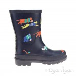 Joules Jungle Scrum Boys Navy Welly Boot