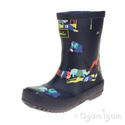 Joules Jungle Scrum Boys Navy Wellington Boot