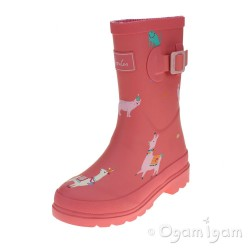 Joules Bright Pink Festival Friends Girls Wellington Boot
