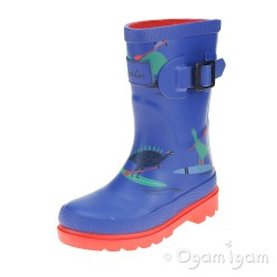 Joules Blue Dino Paddle Boys Blue Wellington Boot