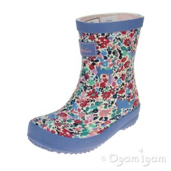 Joules Pretty Kitty Ditsy Welly Girls Light Blue Wellington Boot
