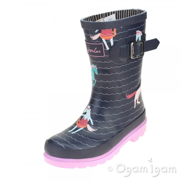 Joules French Navy Sea Pony Girls Wellington Boot