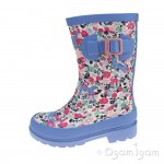 Joules Pretty Kitty Ditsy Girls Light Blue Wellington Boot
