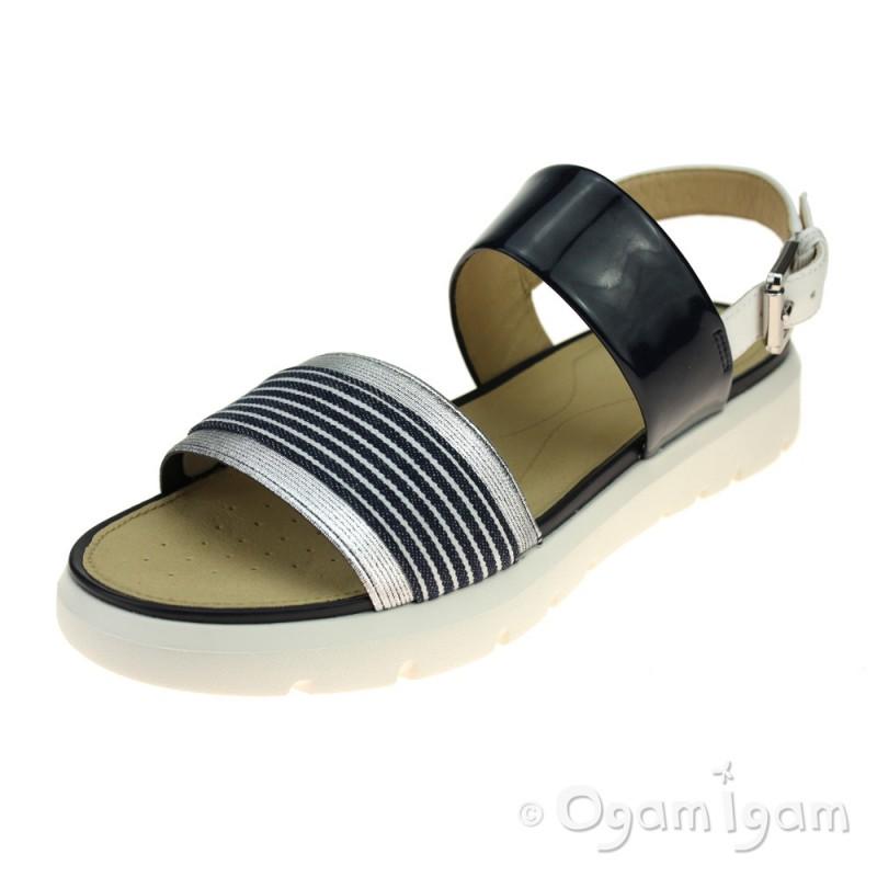 Geox AMALITHA - Sandals - navy/white