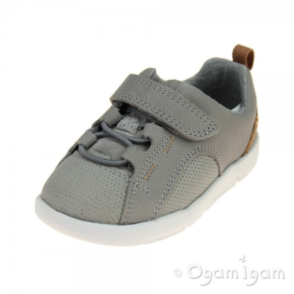 Clarks Tri Leap Infant Girls Grey Shoe