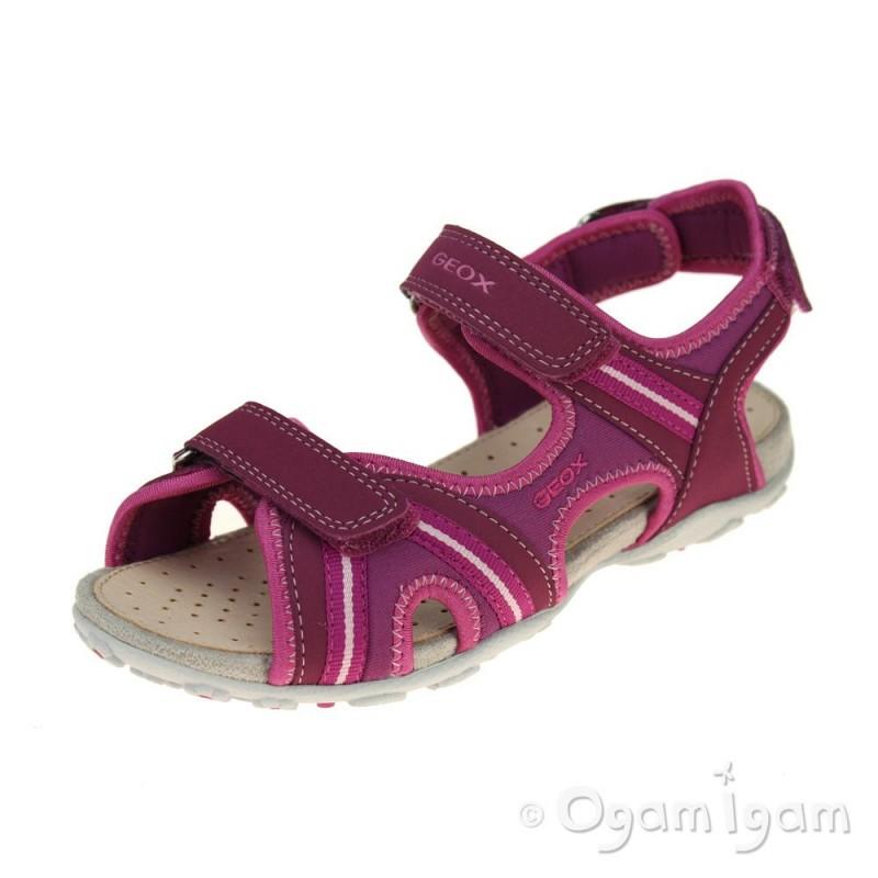 27364cf709 Geox Roxanne Girls Dark Fuchsia Sandal | Ogam Igam
