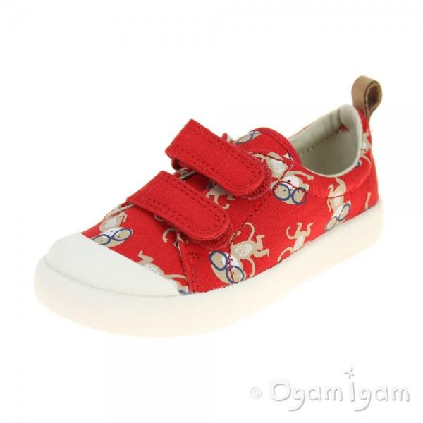 Clarks Halcy High Boys Red Combi Shoe