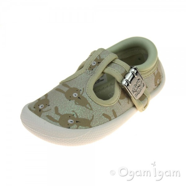 Clarks Choc Cake Girls Cotton Combi Shoe