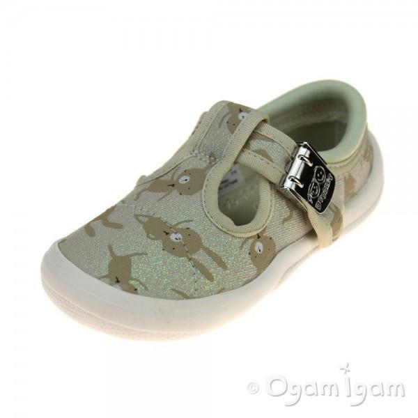 Clarks Briley Bow Girls Cotton Combi Shoe