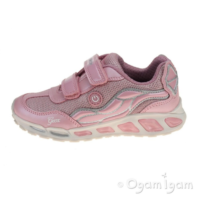 Geox Shuttle Girls Pink Silver Trainer Ogam Igam