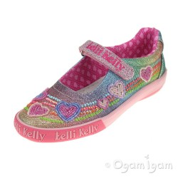 Lelli Kelly Hearts Girls Multi Glitter Mary Jane Shoe