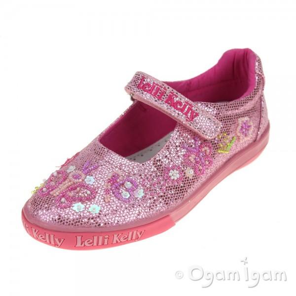 Lelli Kelly Butterfly Girls Rosa Glitter Shoe