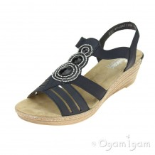 Rieker 6245914 Womens Pazifik Blue Wedge Sandal