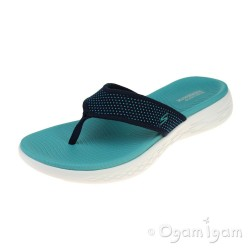 Skechers On The Go 600 Womens Navy-Turquoise Sandal