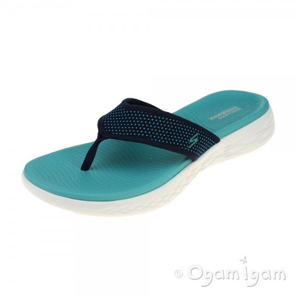 Skechers On The Go 600 Womens Navy-Turquoise Sandal
