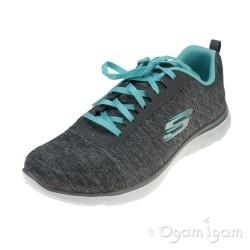 Skechers Flex Appeal Womens Grey-Light Blue Trainer