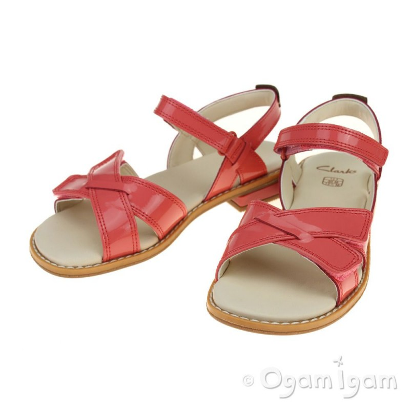 d1283f361d7 ... Clarks Darcy Charm Girls Coral Patent Sandal ...