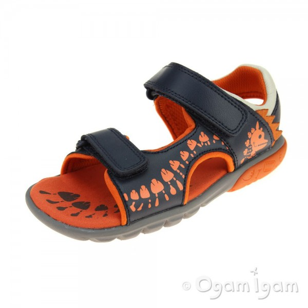 Clarks Rocco Surf Boys Navy-Orange Combi Sandal