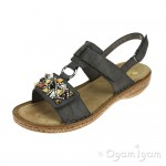 Rieker 628D745 Womens Smoke Grey Sandal