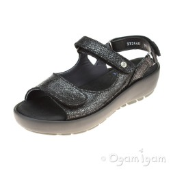 Wolky Rio Black Crash Womens Black Sandal