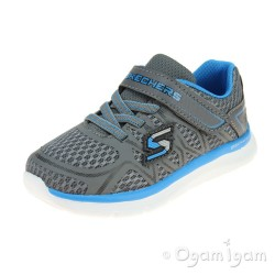 Skechers Skech-Lite Quick Leap Boys Charcoal-Blue Trainer