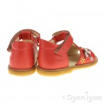 Angulus Girls Embroidered Red Coral Sandal