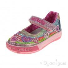 Lelli Kelly Hearts Infant Girls Multi Glitter Shoe