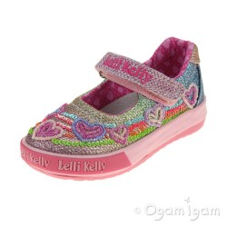 Lelli Kelly Hearts Girls Multi Glitter Shoe