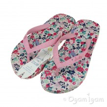 Joules Pretty Kitty Ditsy FlipFlop Girls Blue Pink Sandal