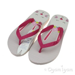 Joules Hare Stripe Flip Flop Girls White Sandal