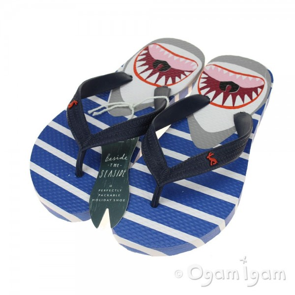 Joules Blue Shark Stripe FlipFlop Boys Blue Sandal
