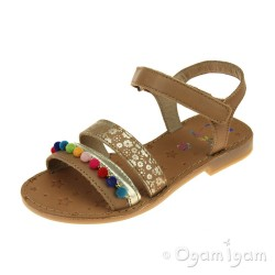 Shoo Pom Happy Pompon Girls Camel Multi Sandal