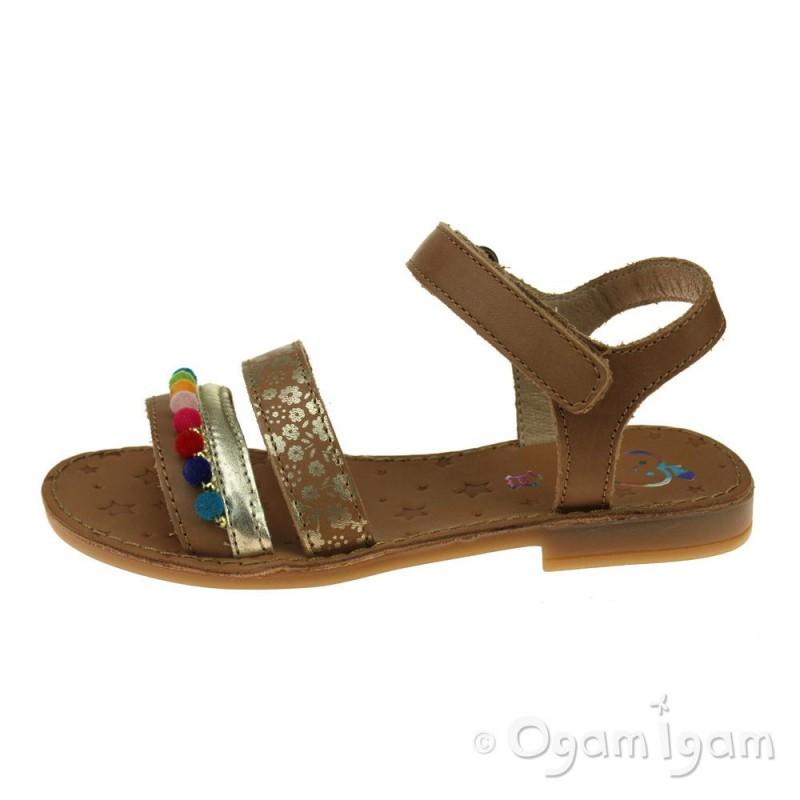 0feb8b42707 Shoo Pom Happy Pompon Girls Camel Multi Sandal   Ogam Igam