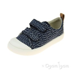 Clarks Halcy Hati Girls Navy Combi Shoe