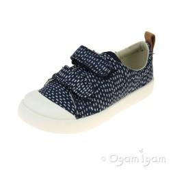 Clarks Halcy Hati Girls Navy Combi Shoe