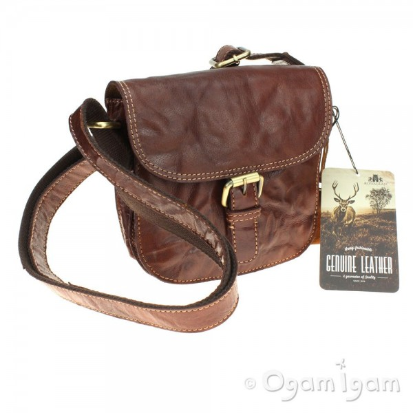 Rowallan Small Half Flap Double Gusset Bag in Cognac Leather